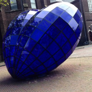 Blue glass heart, Public art, Delft, the Netherlands
